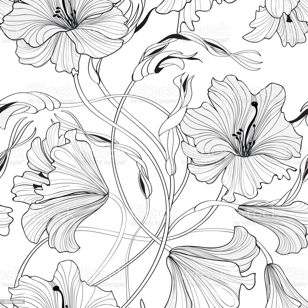 Floral seamless pattern. Flower lily bouquet background. Spring vector art illustration