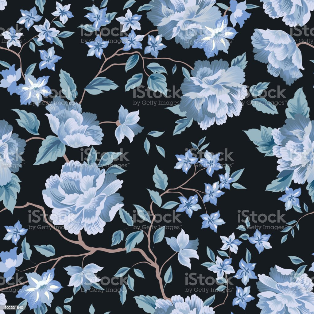 Floral Seamless Pattern Flower Rose Black Background Flourish  -> Floral Fundo Preto
