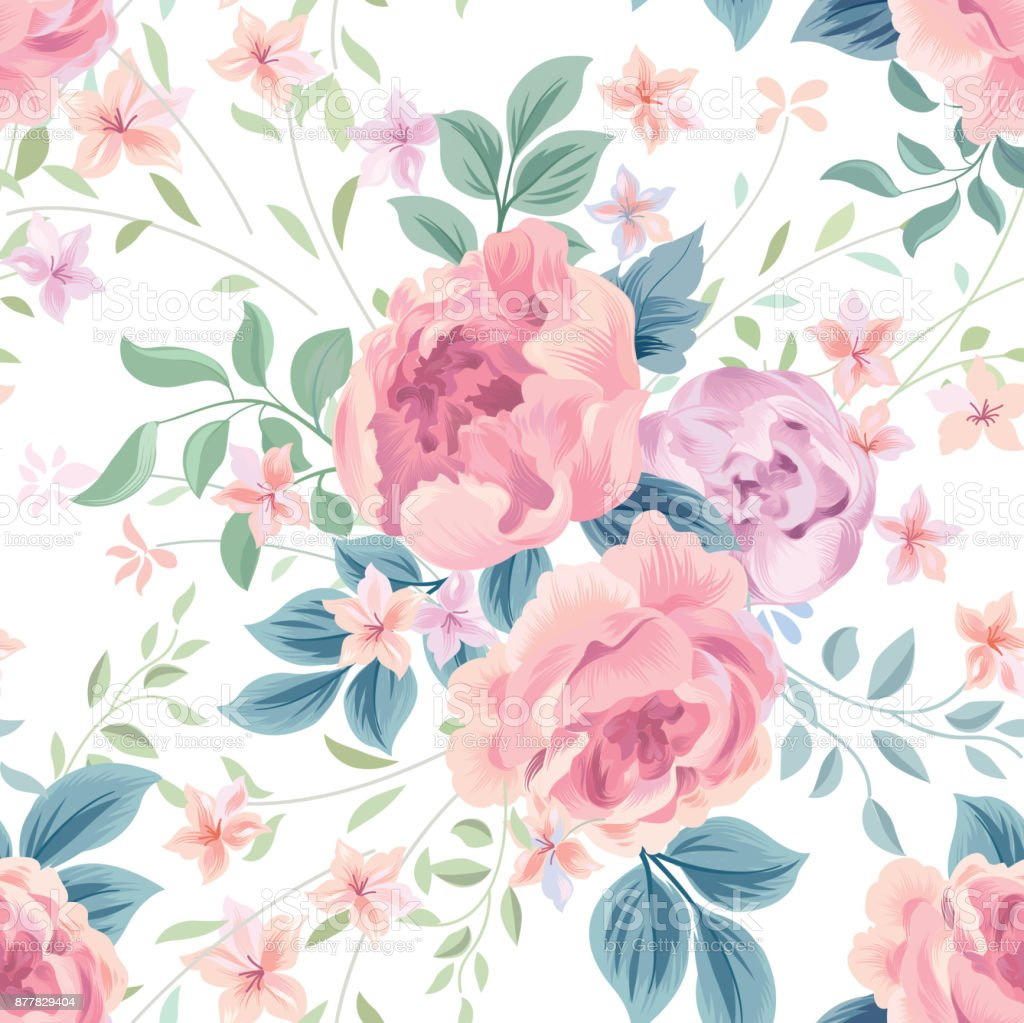 Floral Seamless Pattern Flower Rose White Background Flourish Wallpaper With Flowers Royalty