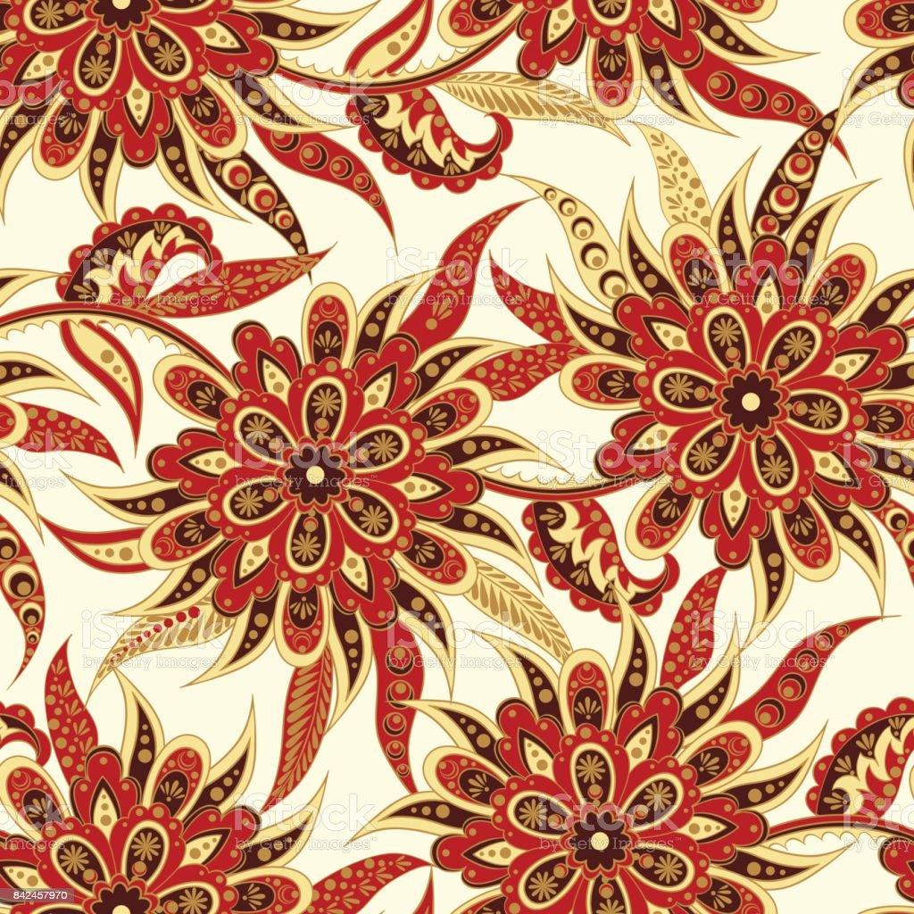 Floral Seamless Pattern Folkloric Batik Vector Ornament