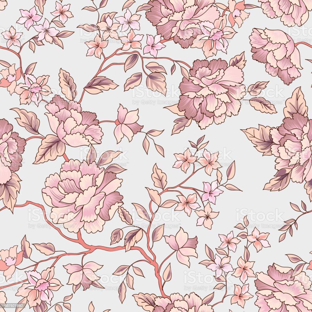 花のシームレスなパターン庭の花背景 - イラストレーションのベクター