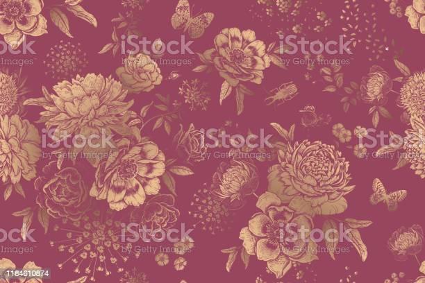 Floral seamless pattern garden flowers peonies roses and butterflies vector id1184610874?b=1&k=6&m=1184610874&s=612x612&h=rlhhwsxsl7bpkofan3d1oklyydq96hctnqqso8up3de=