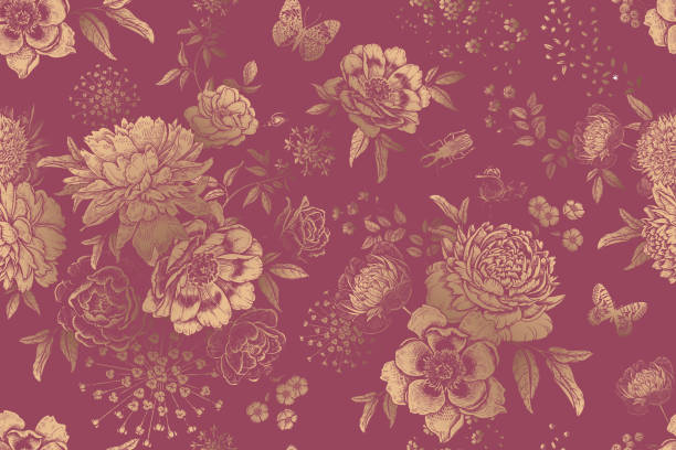 floral nahtlose muster. garten blumen pfingstrosen, rosen und schmetterlinge. - gartenfolie stock-grafiken, -clipart, -cartoons und -symbole