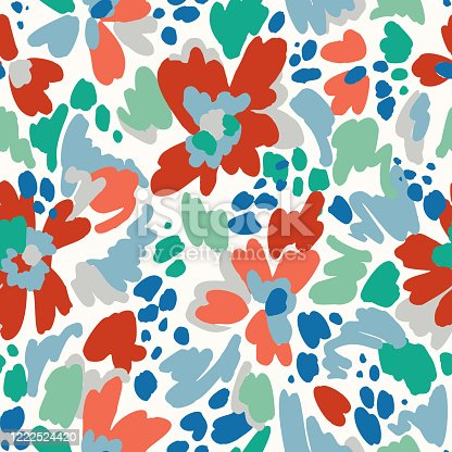istock Floral seamless pattern. Geometric abstract flower shapes. Bright summer background. Flat cartoon style. 1222524420