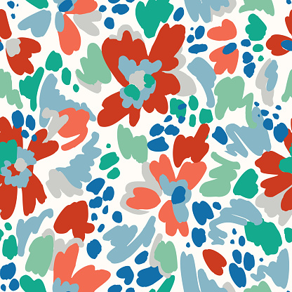 Floral seamless pattern. Geometric abstract flower shapes. Bright summer background. Flat cartoon style.