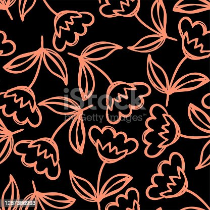 Floral seamless pattern. Hand drawn flowers. Vector illustration. Marker doodle sketch. Line art silhouettes. Repeat contour drawing. Colored scratchboard