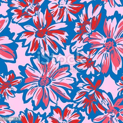 istock Floral seamless pattern. Hand drawn large flower buds. Brush strokes. Botanical background. Summer garden texture. 1258681378