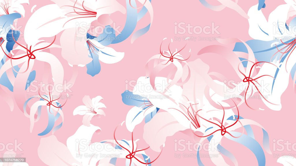 Floral seamless pattern, hand drawn lily flowers on pink background, pink, white and blue tones vector art illustration