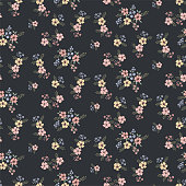 Floral seamless pattern in small pretty flowers on a dark background