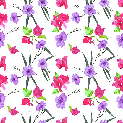 Floral seamless pattern in small-scale flowers. Mexican petunia or Ruellia simplex and bougainvillea flowers. Shabby chic millefleurs. For textile, manufacturing, wallpapers, print, gift wrap.