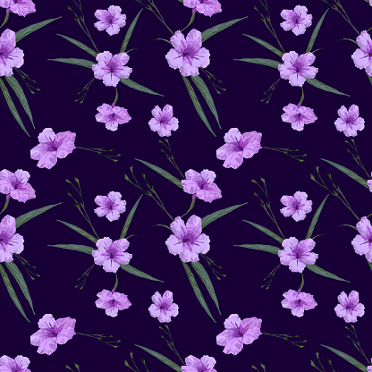 Floral seamless pattern in small-scale flowers. Mexican petunia or Ruellia simplex. Shabby chic millefleurs. For textile or book covers, manufacturing, wallpapers, print, gift wrap and scra