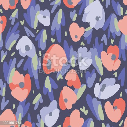 istock Floral seamless pattern made of abstract geometric organic shapes. Bright summer botanical background. 1221661761
