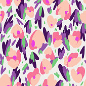 Abstract floral background made of tulip buds. Abstract geometric organic shapes. Flowers seamless pattern. Fantasy florals. Flat style. Textile and fabric design.