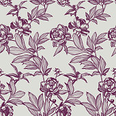 Line art peonies, buds and leaves. Vector floral seamless pattern. Detailed outline sketch drawing. Contour graphic, etching technique. Vintage background with beautiful flowers for textile, fabric.