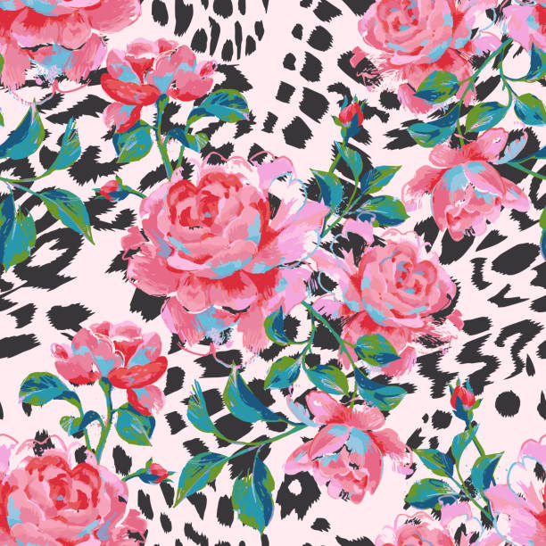 Floral seamless pattern made of gorgeous large roses. Acrylic painting Floral seamless pattern made of gorgeous large roses. Acrylic painting with flower buds and leaves on leopard background. Mix of animal skin texture and botanical ornament. acrylic painting stock illustrations