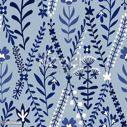 istock Floral seamless pattern made of meadow plants, grass, herbs, stems and flowers. Summer ornament. 1220744608
