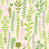 Field meadow plants, grass, herbs, stems and flowers. Silhouettes of botanical elements. Cute floral seamless pattern. Flat drawing. Folk decorative ethnic ornament for baby and kids.