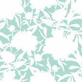 Vector floral seamless pattern. Silhouettes made of peony flowers and petals. Flat botanical backdrop for wallpaper, textiles, fabric, clothes, jacket, souvenirs, wrapper, surface or scrapbook.