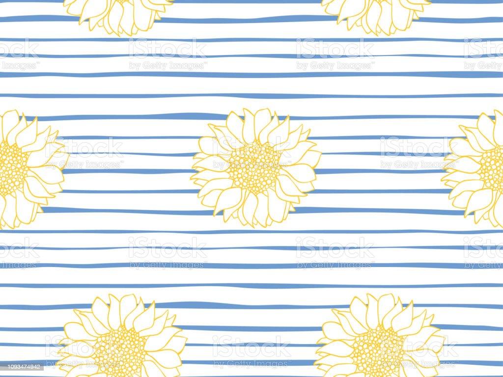 Floral Seamless Pattern Marine Stripe Wallpaper Vector