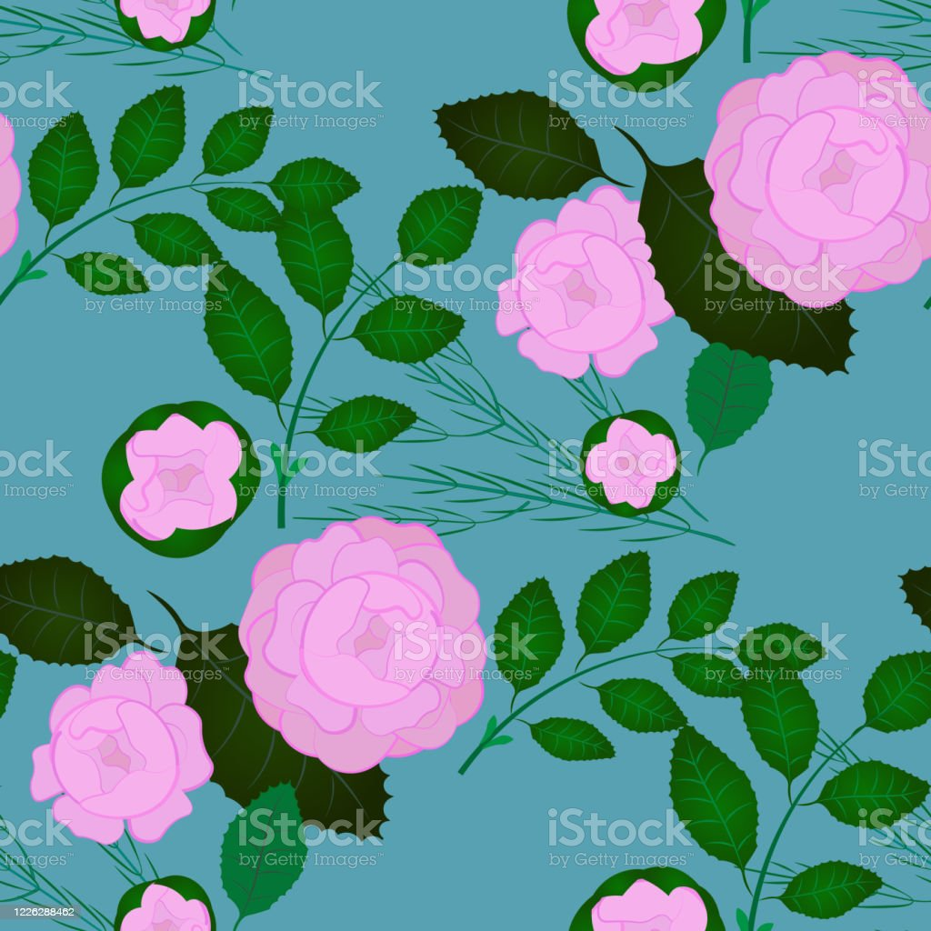 Rose Floral Illustration Pattern Holiday Fabric Printed by Spoonflower BTY