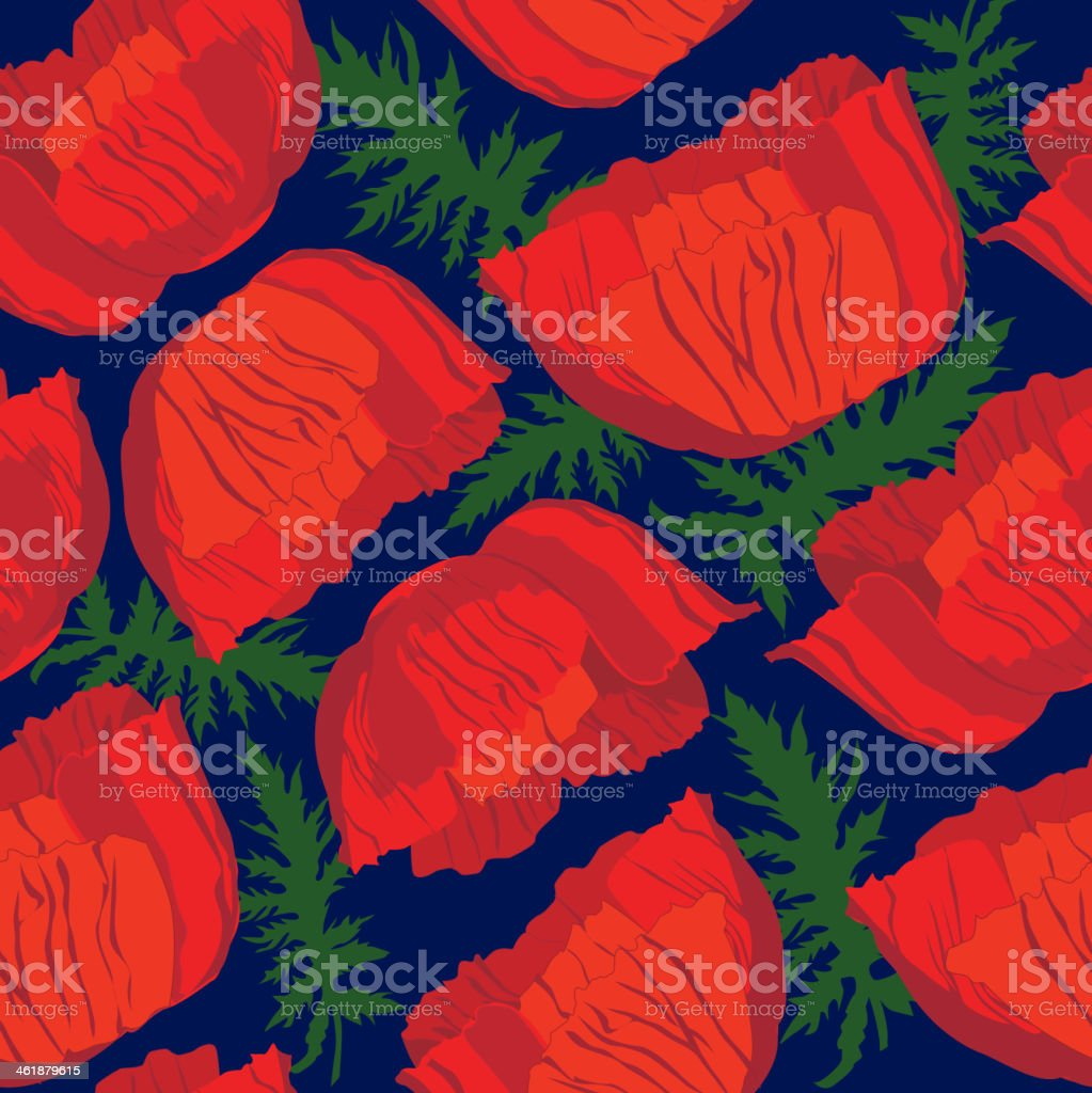 Floral seamless pattern of poppy - Illustration vector art illustration