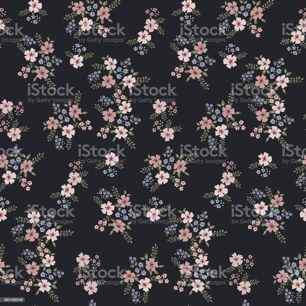 Floral seamless pattern of small flowers in pastel colors on a dark blue background vector art illustration