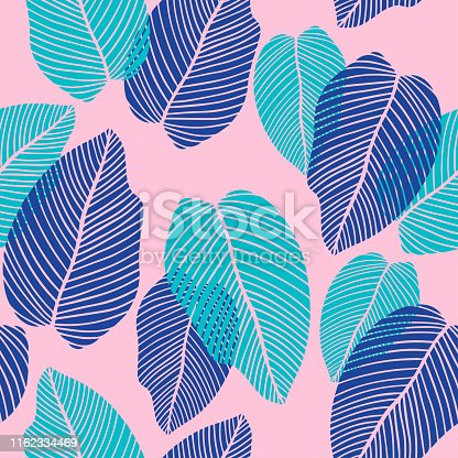 Colorful leaf endless background for textile print, fabrics, wrapping paper, season design, card, decoration, invitation. Bright colors.