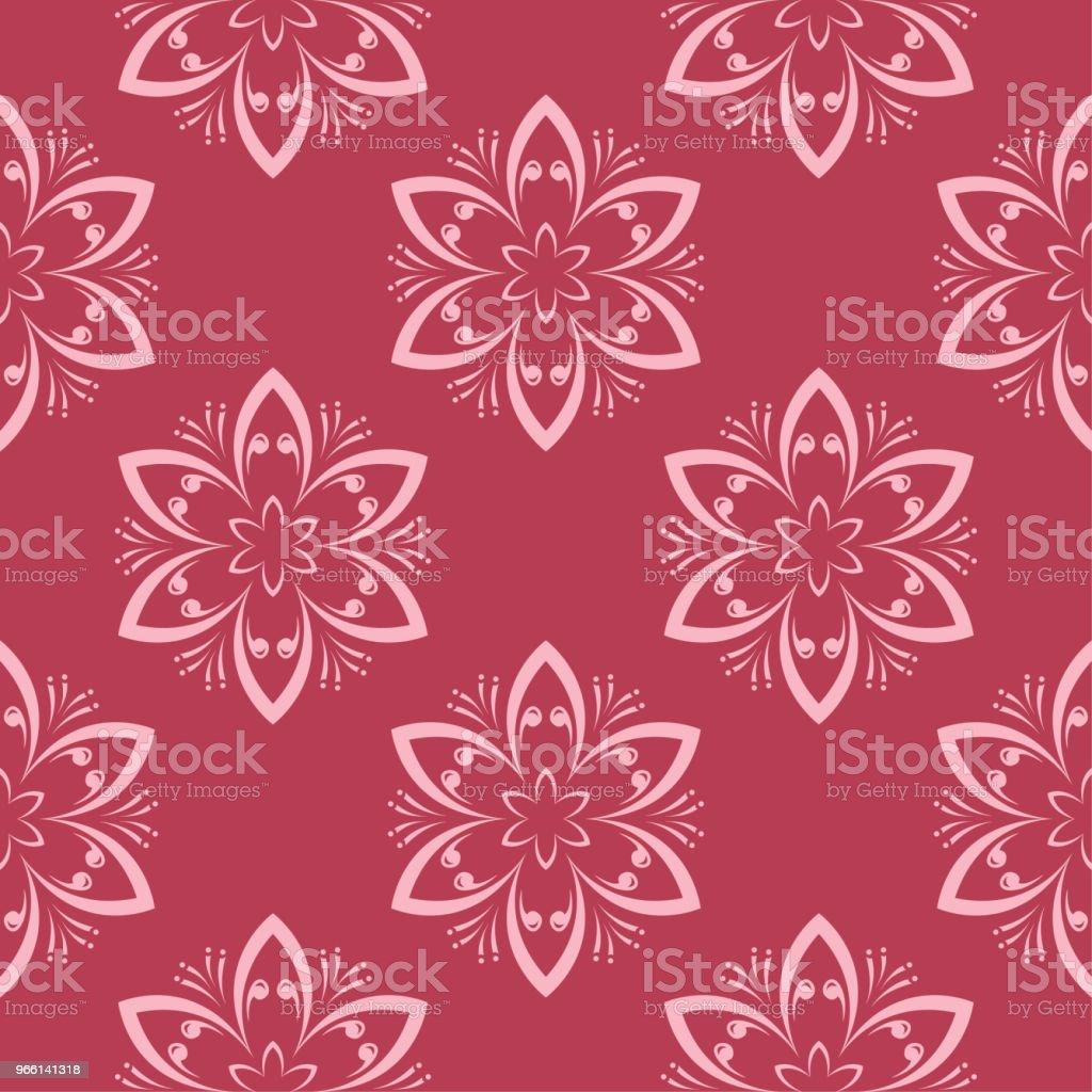 Sömlös blommönster på röd bakgrund - Royaltyfri Abstrakt vektorgrafik