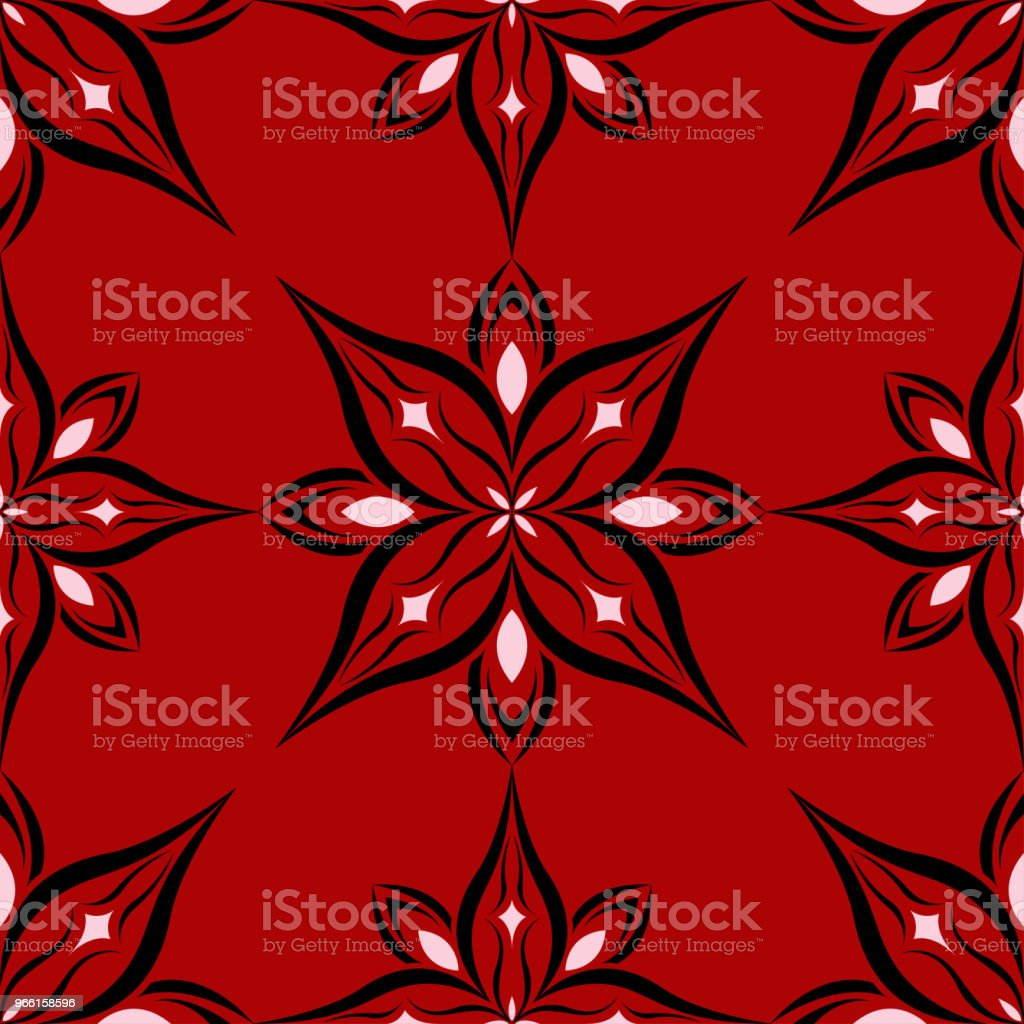 Floral seamless pattern on red background - Royalty-free Abstract stock vector