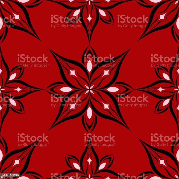 Sömlös Blommönster På Röd Bakgrund-vektorgrafik och fler bilder på Abstrakt