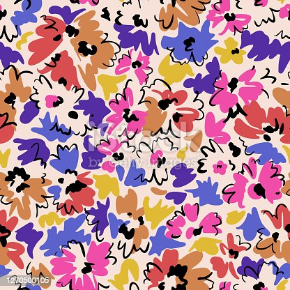 floral seamless pattern. Outline contour lines brush strokes drawing