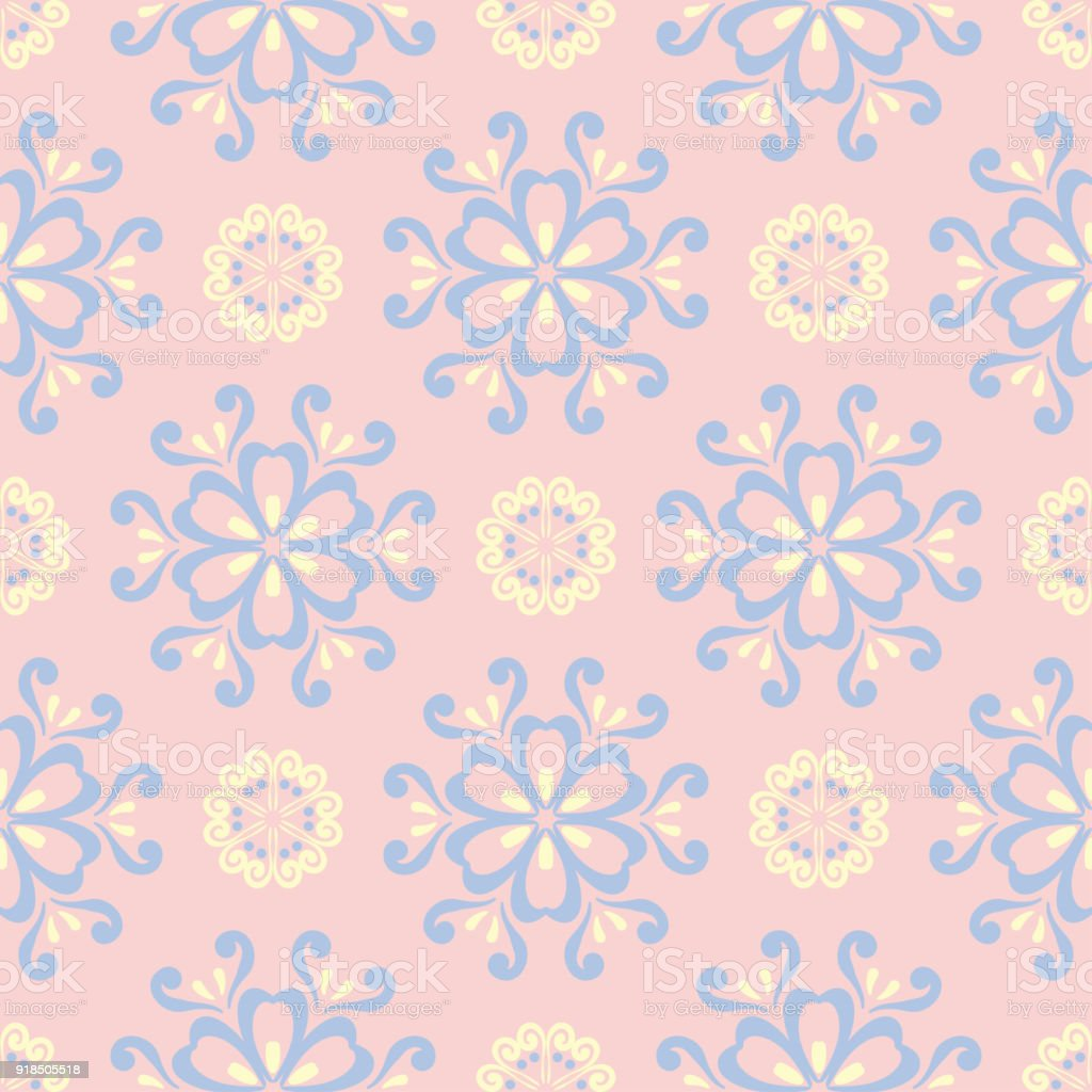 Floral Seamless Pattern Pale Pink Background With Light