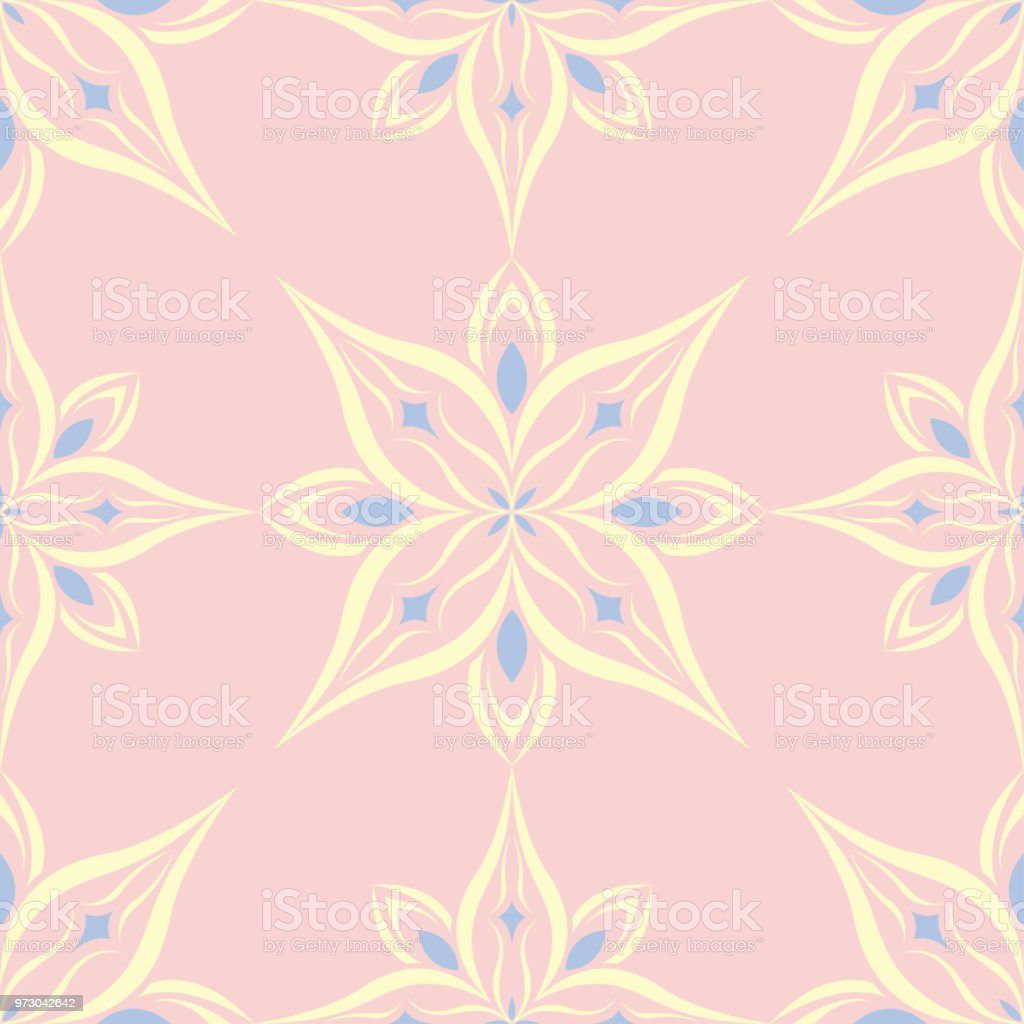 Floral Seamless Pattern Pale Pink Background With Light Blue And