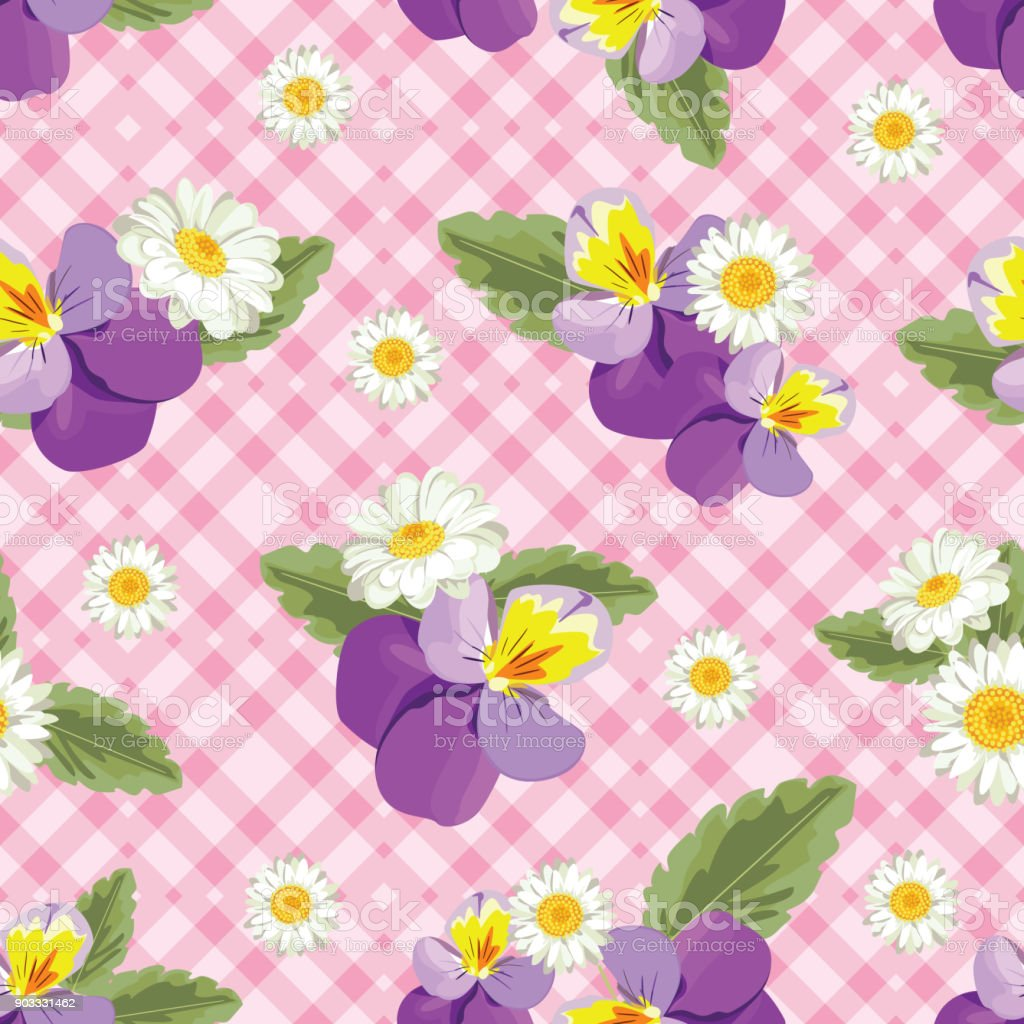 Floral seamless pattern. Pansies with chamomiles on pink gingham, chequered background. Vector illustration vector art illustration