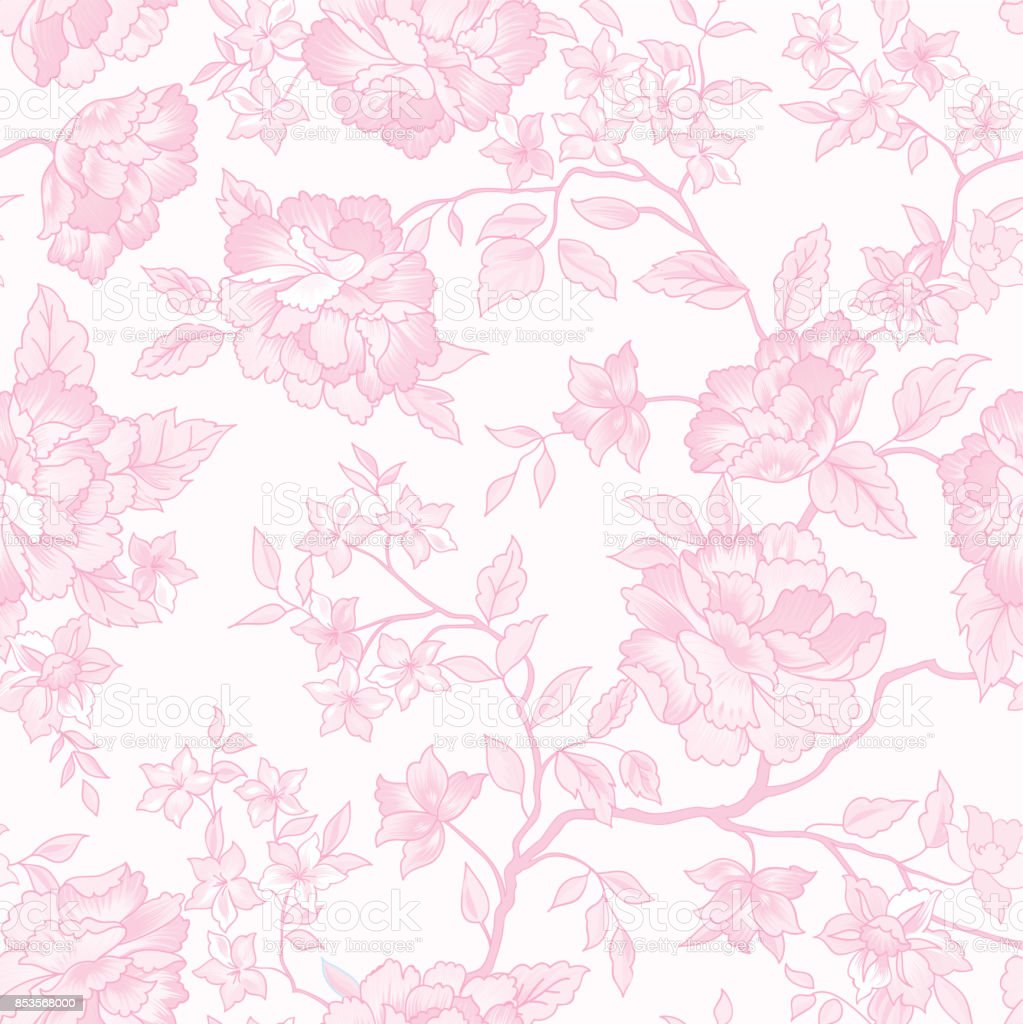 Floral Seamless Pattern Pink Flower Background Stock Illustration