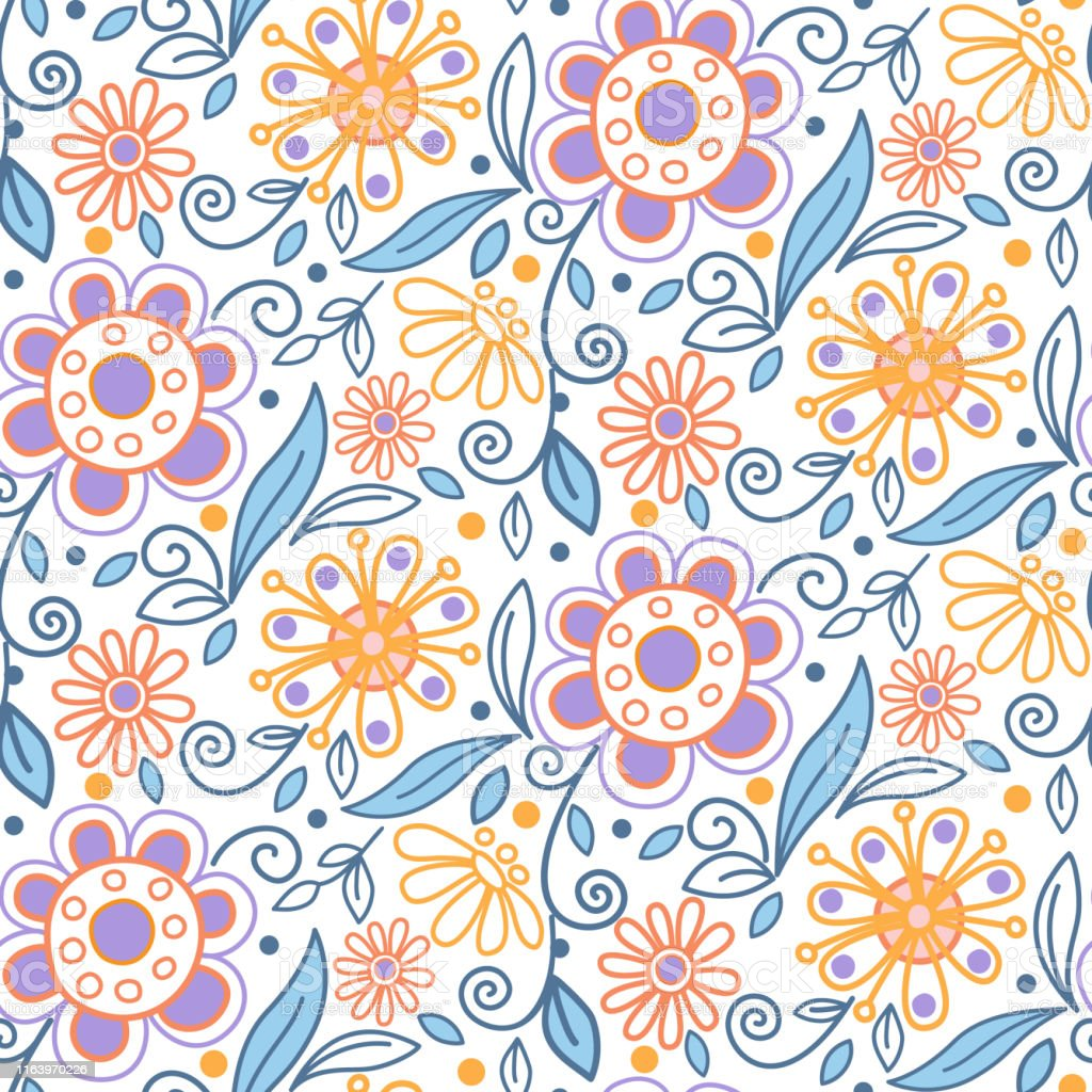 Floral Seamless Pattern Pretty Flowers On White Backgroung Vector