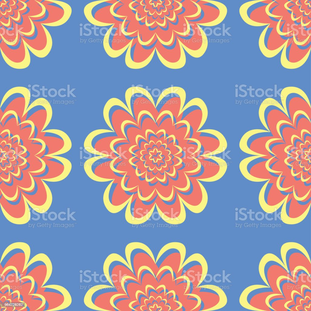 Floral seamless pattern. Red and yellow flower elements on blue background royalty-free floral seamless pattern red and yellow flower elements on blue background stock vector art & more images of abstract