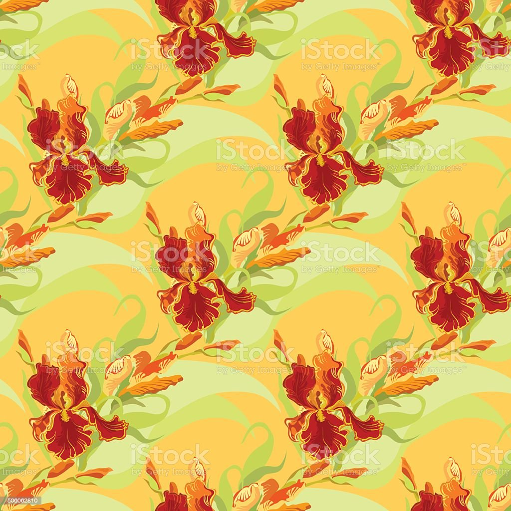 Floral Seamless Pattern Red Iris Flower Background Stock Vector Art