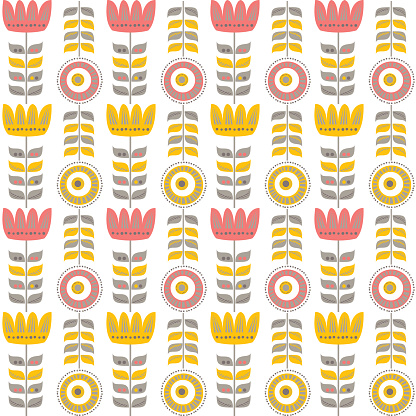 Floral Seamless Pattern. Scandinavian style.