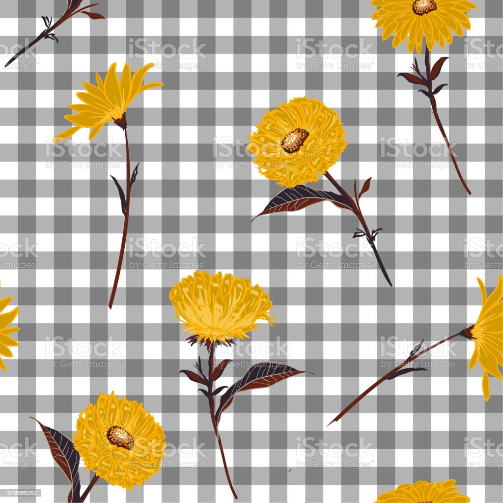 Floral Seamless Pattern Stylish Yellow Blooming On Light Grey And