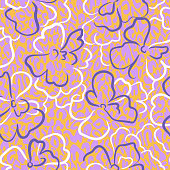 Floral seamless pattern. Summer nature botanical background. Large daisy flowers mixed with leopard print skin spotted texture. Outline contour drawing. Good for textile and fabric.