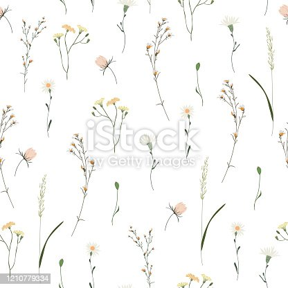 Floral seamless pattern. Trendy blossom colorful vector texture. Blooming botanical motifs scattered random. Fashion, ditsy print. Hand drawn different color wild meadow flowers on white background