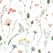 istock Floral seamless pattern. Trendy blossom colorful vector texture. Blooming botanical motifs scattered random. Fashion, ditsy print. Hand drawn different color wild meadow flowers on white background 1211621858
