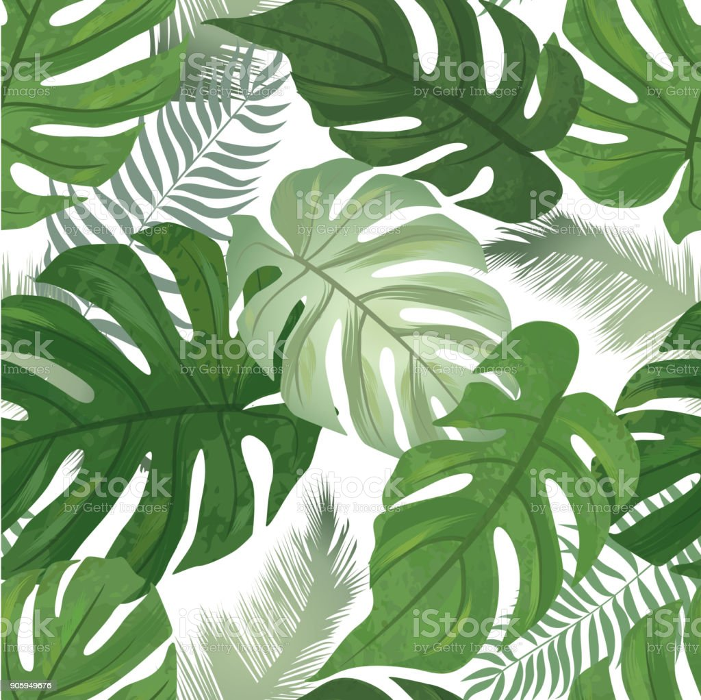 Floral Seamless Pattern Tropical Leaves Background Palm Tree L Stock Illustration Download Image Now Istock