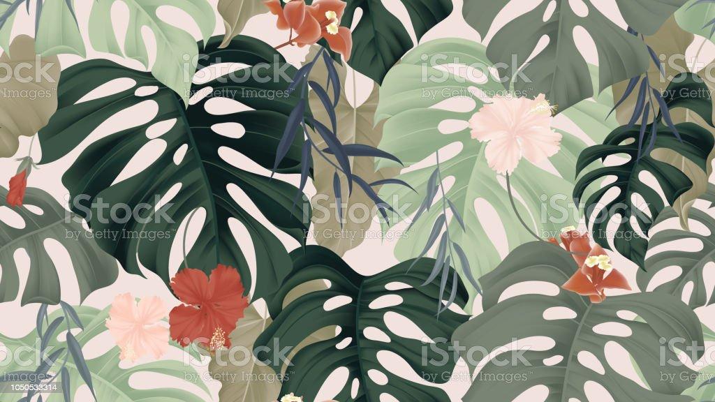 Çiçek seamless modeli, tropikal bitkiler, split-yaprak Philodendron tesisi, hibiscus çiçek, ağlayan söğüt yaprakları ve Bougainvillea çiçek ışık arka plan, pastel vintage tema pembe vektör sanat illüstrasyonu
