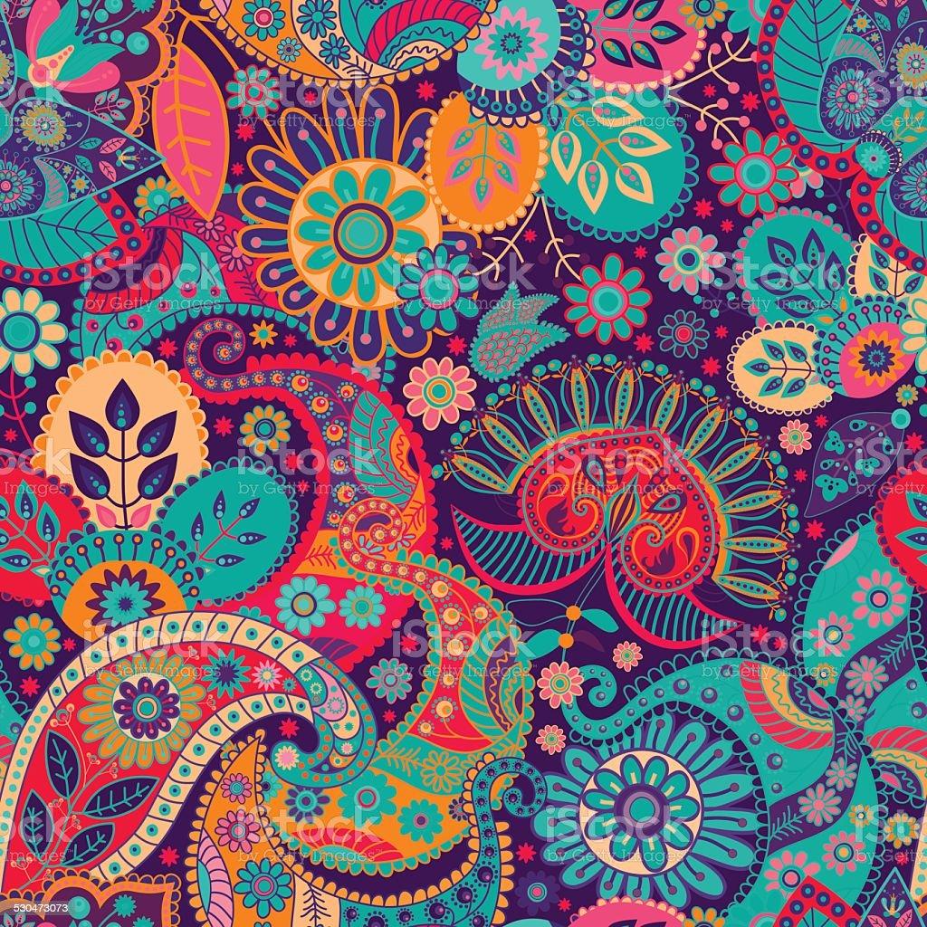Floral seamless pattern. Vecor background vector art illustration