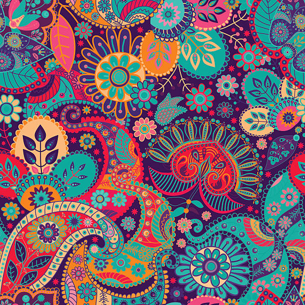 stockillustraties, clipart, cartoons en iconen met floral seamless pattern. vecor background - indonesische cultuur