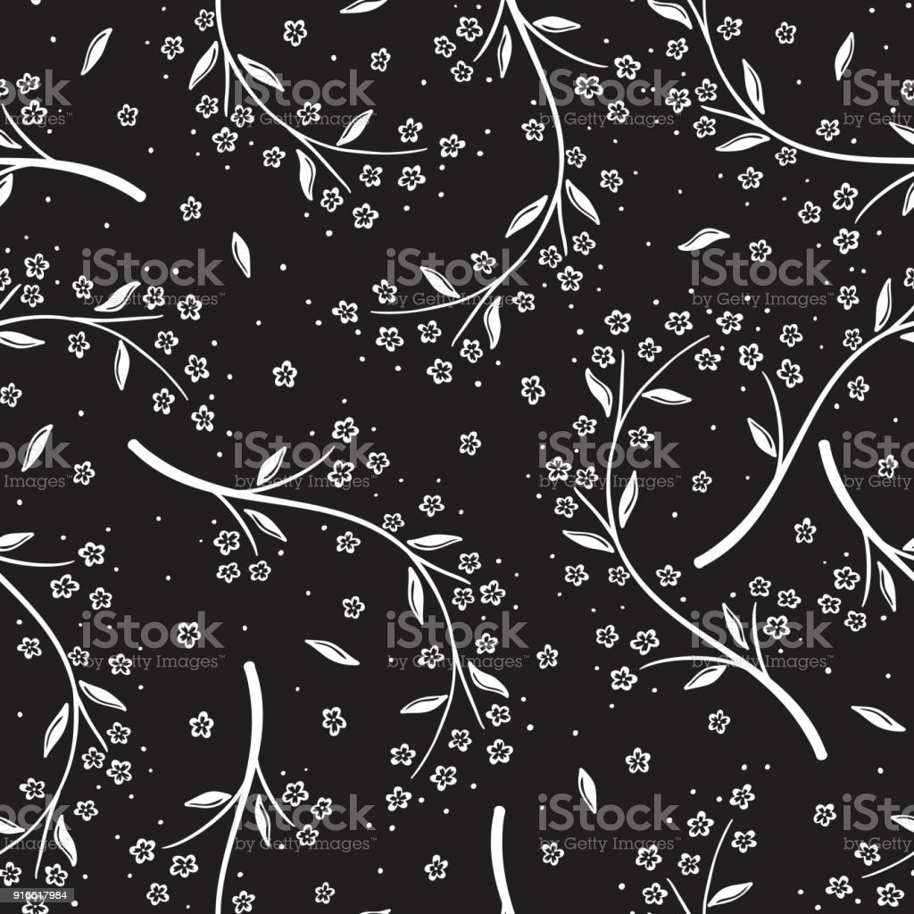 Floral Seamless Pattern Vector Abstract Background With Sakura