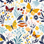 Seamless pattern with floral design, hand drawn elements, vector design