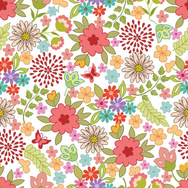 花のシームレスなパターン。 - ボタニカル点のイラスト素材/クリップアート素材/マンガ素材/アイコン素材